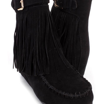 Black Fringe Trimmed Moccasin Booties Faux Suede