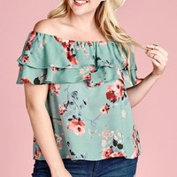 Pale Green Floral Ruffle Top  | Plus