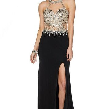 Prom Pageant gown with slit 101-619