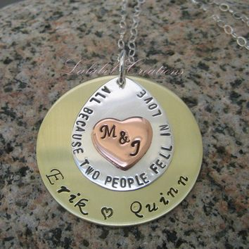Personalized Necklace Hand Stamped Mom by LalabelCreations