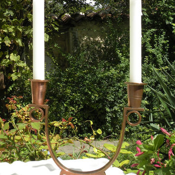 English vintage copper candelabra for two candles, candelabra, candle holders, English home decor, copper candle stick holders, cottage chic
