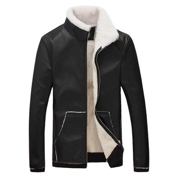 Winter 2018 new tide male leather jacket lambs wool with thick fur Fashion collar fleece jacket
