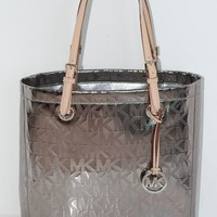 New MICHAEL KORS Items MK Logo Mirror Metallic Silver Nickel Tote Handbag $198 - Handbags & Bags