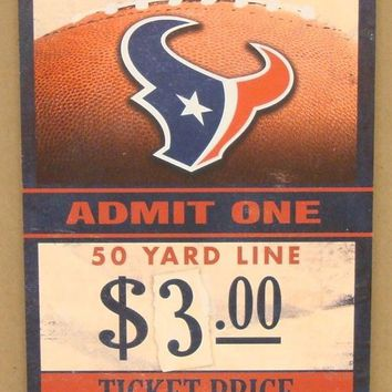 "HOUSTON TEXANS GAME TICKET ADMIT ONE BATTLE RED WOOD SIGN 6""X12'' WINCRAFT"