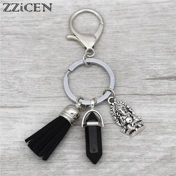 Indian Vintage Jewelry Antique Silver Meditation Elephant Buddha Ganesha Charm Tassel Pendant Natural Stone Key Rings Keychains