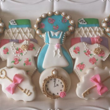 Alice in Wonderland Sugar Cookies, Tea Party Sugar Cookies, Baby Shower Sugar Cooies