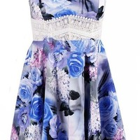 Women's Summer Straps Sleeveless Floral Printed Short Skater Casual Beach Dress