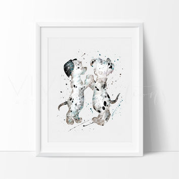 101 Dalmatians Dogs Watercolor Art Print