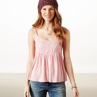 AEO Women's Pintucked Babydoll Tank
