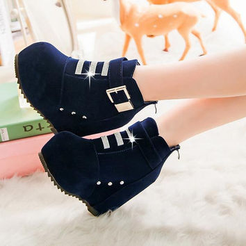 Womens Ankle Boots Wedges High Heels Women's Boots Buckle rivet Leather Waterproof Casual Outdoor Ladies Boots Platform Shoes