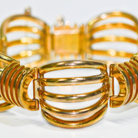 Retro 1950s Gold Vermeil Wide Bracelet