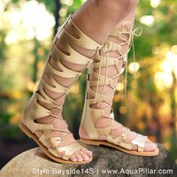 Bayside14S Knee High Loop Cut Out Lace Up Roman Gladiator Flat Sandal