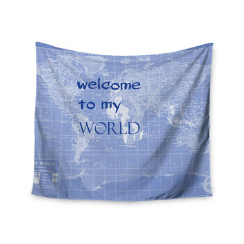 "Catherine Holcombe ""Welcome to my World Quote Indigo"" Wall Tapestry"
