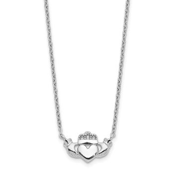 14K White Gold Polished Claddagh Necklace 17 Inch