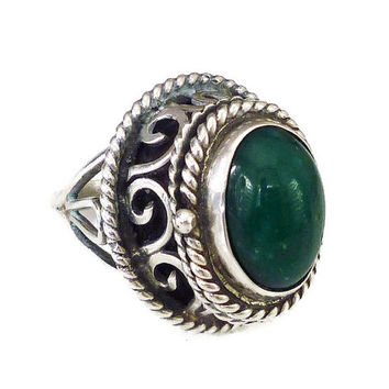 Taxco Sterling, Poison Ring, Green Chrysoprase, Mexico, Silver 925, Scrolled Ornate, Size 6 Adjustable, Statement Ring, Vintage Jewelry