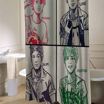 5sos custom shower curtain for bathroom ideas