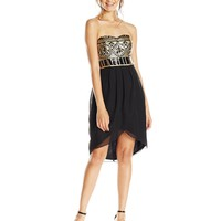 As U Wish Juniors' Strapless Goddess Party Dress with Sequins and Tulip Skirt