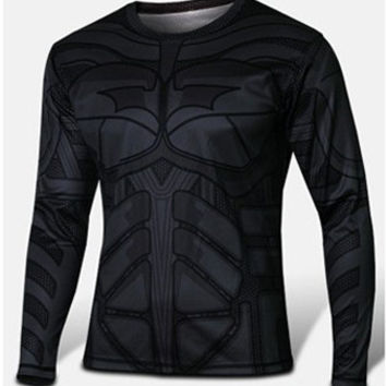 Deal Blast: 2017 Design Marvel Super Heroes Avenger Batman sport 3D T shirt Men Compression Armour Base Layer Long Sleeve Thermal Under Top Fitness XS