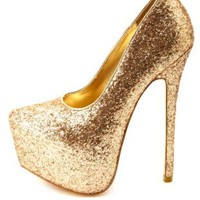 Metallic Tinseltown Glitter Platform Pumps by Charlotte Russe - Gold
