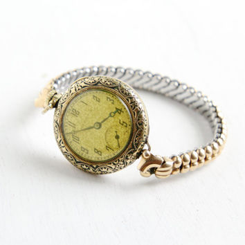 Antique Art Deco Ladies Working Watch- 1920s 1930s Yellow Gold Filled Floral Filigree Hallmarked Hamilton Bracelet Jewelry