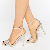 Faith Silver Barely There Heeled Sandals at asos.com