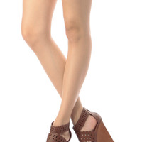 Chestnut Faux Leather Laser Cut Out Wooden Wedges
