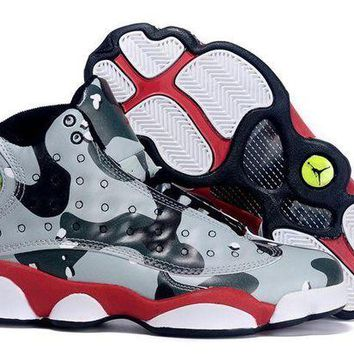DCCKL8A Jacklish Girls Air Jordan 13 Gs Desert Camo Custom Black Grey Red For Sale