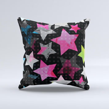 Neon Highlighted Polka Stars On Black ink-Fuzed Decorative Throw Pillow