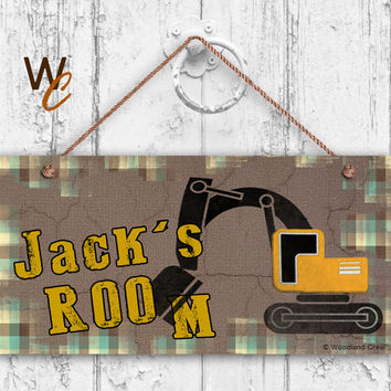 "Excavator Sign, Construction Equipment Boys Sign, Personalized Sign,Kid's Name, Kids Door Sign, Nursery Art, 5"" x 10"" Sign, Made To Order"