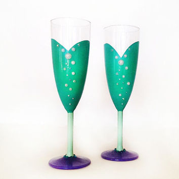 Part of Your world champagne glasses - little mermaid inspired - turquoise - pearls