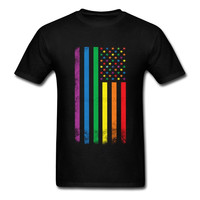 Men's Rainbow American Flag Gay Pride T Shirt USA Flag Independence Day Group Team T-shirts Custom Short Sleeve Men Male