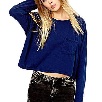 Blue Long Sleeve Shirt With Front Pockets