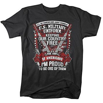 Shirts By Sarah Men's Funny Patriotic Veteran's T-Shirt Wear Military Uniform 4th July Distressed Tee