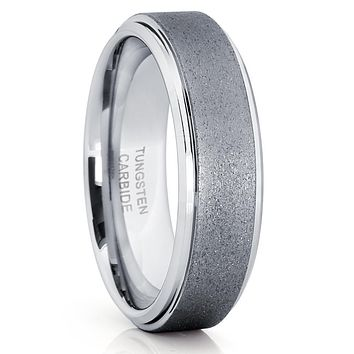 Grey Tungsten Ring - 6mm - Tungsten Wedding Band - Gunmetal Ring - Brush