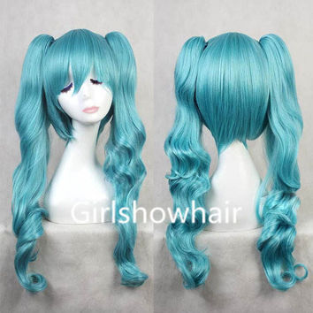 70 cm blue long wavy japanese  harajuku LOLITA anime wigs hair  Ponyappendage hair extension  anime Cosplay wigs