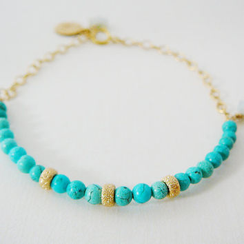 Dainty Bracelet, Turquoise Blue Howlite, 14kt Gold Filled, Dangles, Layering, Friendship, Bridal Party Wedding