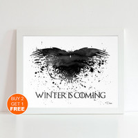Game Of Thrones crow watercolor illustration art print, Game Of Thrones poster, home decor, wall art, got print Winter is Coming Got crow