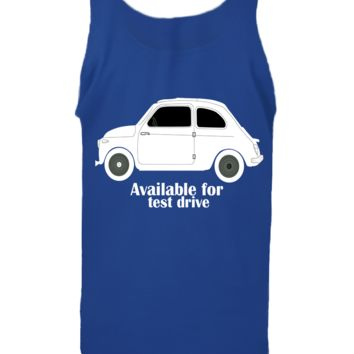 'Taxi Available For Test Drive' Funny Slogan Men Women Unisex Tank Top Vest Gym Summer Singlet (82) Blue
