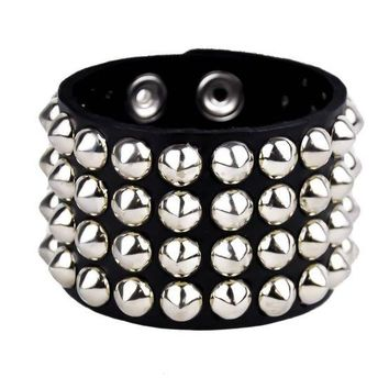 ac spbest 4-Row Silver Cone Stud Quality Leather Wristband Cuff Goth Metal