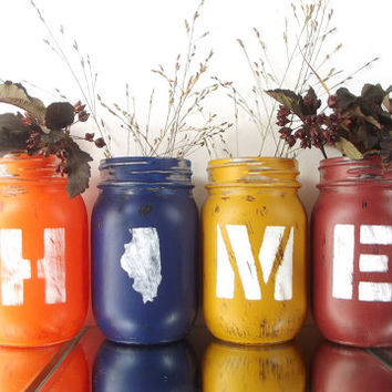 Illinois Home, State Pride, Rustic Home Decor, Custom Mason Jars, Illinois State, Rustic Centerpiece, Cute Home Decor, Housewarming Gift