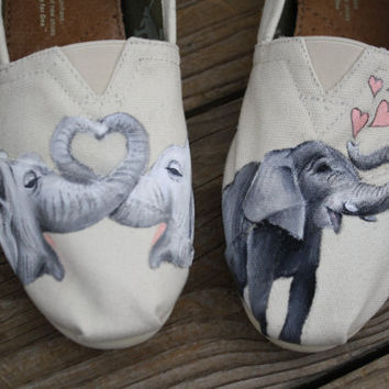 Elephant Love Original Custom Acrylic Painting for Toms/Canvas Shoes TOMS NOT INCLUDED