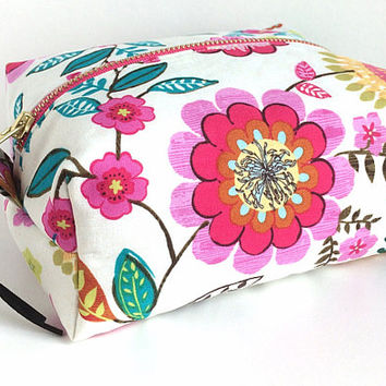 Boxy Bag, Large Makeup Bag, Mother's Day Gift, Cosmetic Case, Floral Makeup Pouch