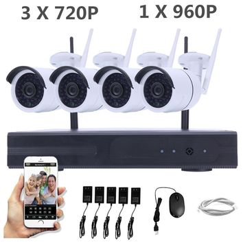 Safurance Wireless 4CH 720P / 960P WIFI NVR Outdoor CCTV Security Night Vision IP Camera Home Safety Surveillance