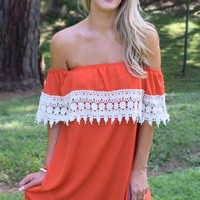 Sideline Sweetie Off the Shoulder Lace Dress - Orange / White
