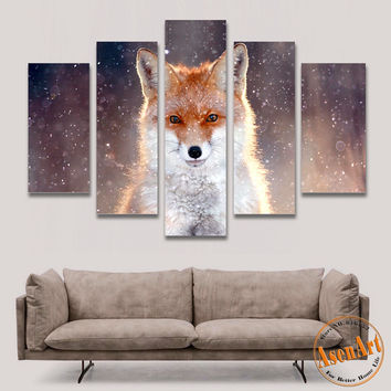 5 Panel Wall Art Fox Painting Picture Print on Canvas Painting Animal Wall Pictures for Living Room Modern Home Decor No Frame