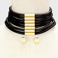 Gold & Black Multi Row 7 Row Round Strand Leather Choker Necklace and Earring Set