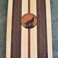 """22 inch Mini Penny kicktail Skateboard """"Rincon"""" with wolf inlay, deck only"""