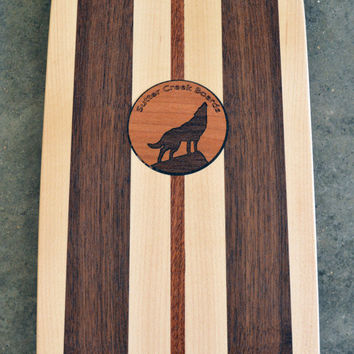 "22 inch Mini Penny kicktail Skateboard ""Rincon"" with wolf inlay, deck only"