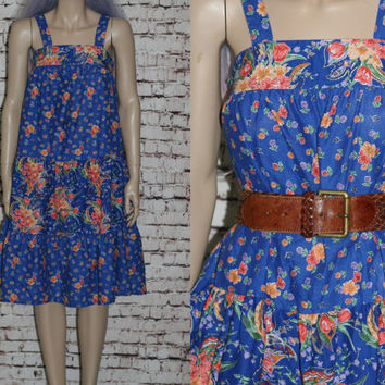 70s Midi Dress Sundress Floral Blue Smock Tiered Peasant Prairie Revival Smocked Cotton Aline Boho Hippie Festival Hipster XS S Bohemian 60s