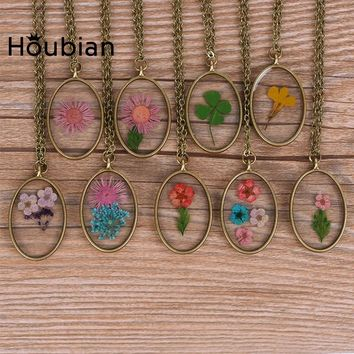 Houbian Vintage Maxi Necklace Mirror Pendant Necklaces Jewelry Collier Femme Collares Mujer Gifts Glass Dried Flowers Necklaces